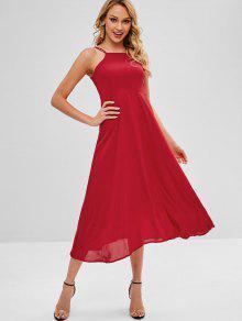 Strappy كريسس الصليب فستان ماكسي - الحمم الحمراء L