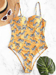 ZAFUL زيبرا كامي Underwire ملابس السباحة - قضبان ذهبية S
