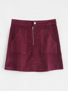 نصف الرمز البريدي عادي تنورة سروال قصير - نبيذ احمر Xl