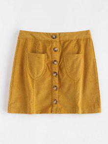 جيوب سروال قصير خط تنورة - الذهب البرتقالي S