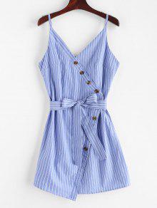 ZAFUL Buttoned Stripes كامي اللباس - بلو كوي M