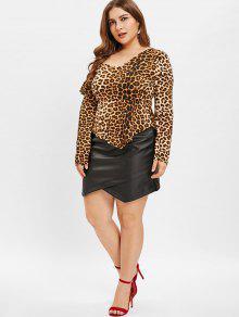 9605e3b87 25% OFF] 2019 ZAFUL Plus Size Faux Leather Mini Skirt In BLACK   ZAFUL