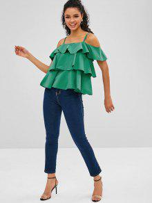 16b83cc50404ee 35% OFF  2019 Ruffles Cold Shoulder Blouse In GREEN