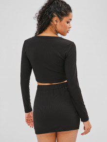 ccb1ad623 ZAFUL Snap Button Crop Top y falda conjunto