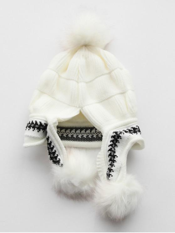 2a6583656f5 2019 Winter Fuzzy Ball Design Knitted Hat In WHITE