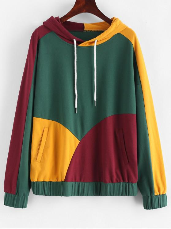 unique ZAFUL Color Block Drawstring Pocket Hoodie - MULTI S