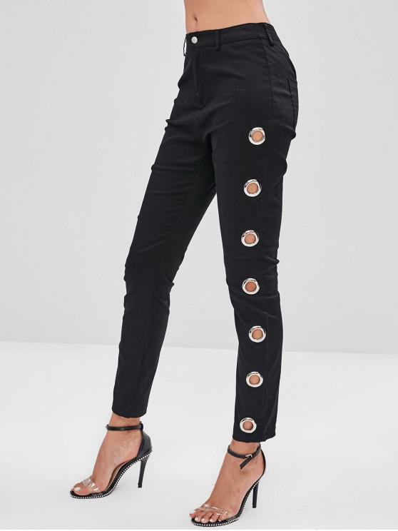women's ZAFUL Skinny Grommet Pocket Pants - BLACK M