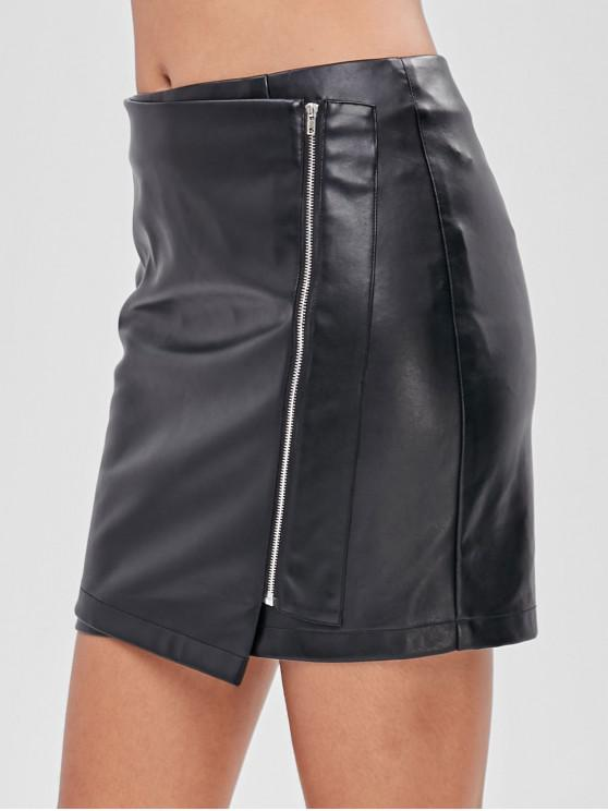womens ZAFUL Zip Up Faux Leather Short Skirt - BLACK XL