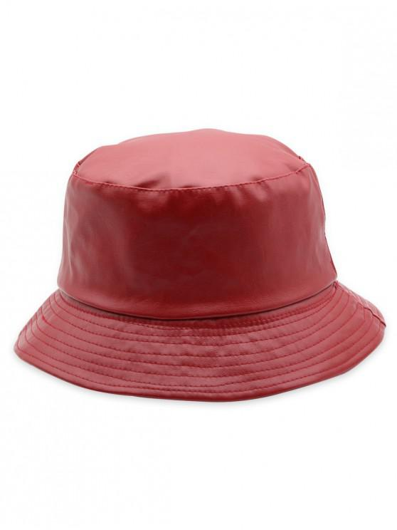2615b81d087 17% OFF  2019 Solid Color Design PU Bucket Hat In RED