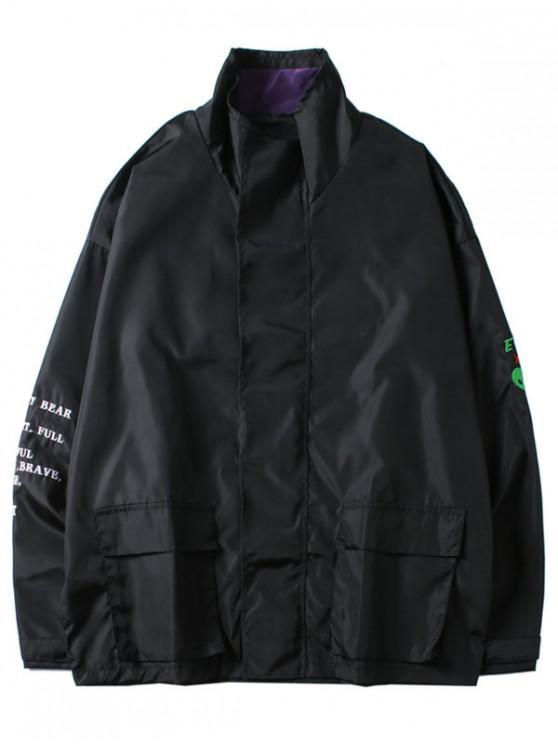 affordable ET Alien Letters Print Jacket - BLACK 2XL