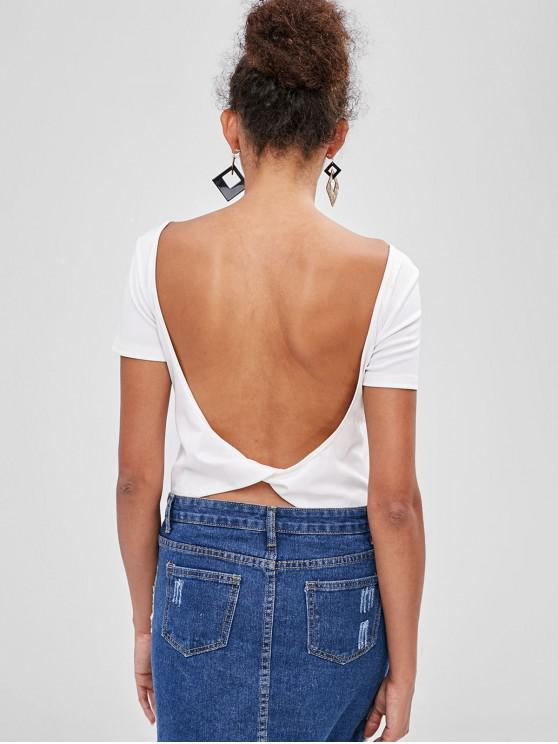 Bodysuit cortado sem costas de ZAFUL - Branco XL