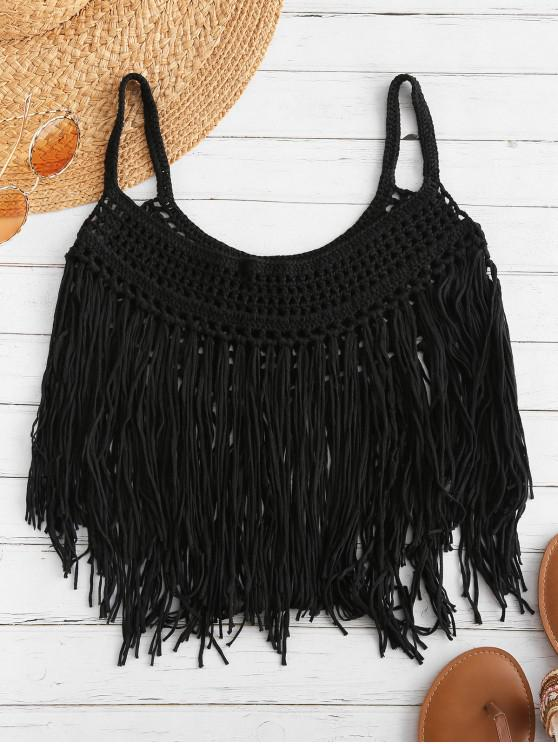 trendy Fringed Crochet Cami Top - BLACK M