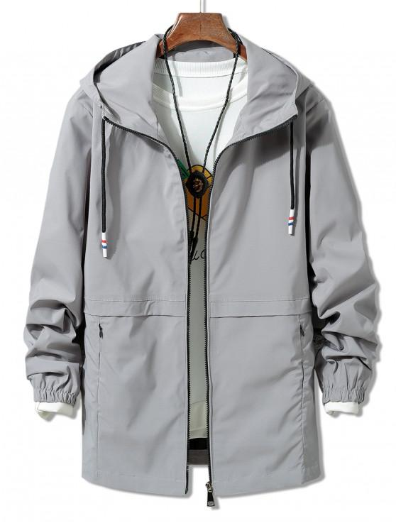 shops Solid Zipper Windbreaker Jacket - GRAY 3XL