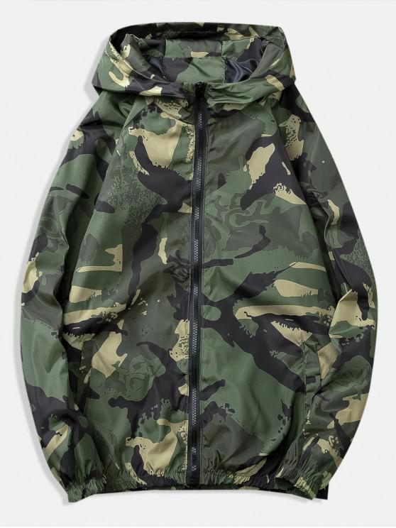 lady Painting Printed Casual Jacket - ARMY GREEN 2XL
