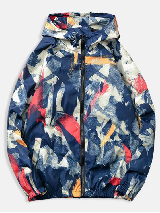 shop Painting Printed Casual Jacket - BLUE M