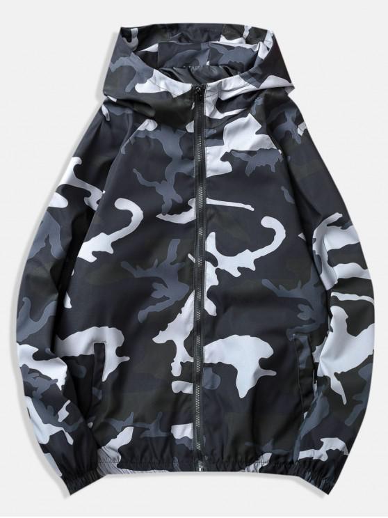 women Raglan Sleeve Camo Windbreaker Jacket - BLACK 3XL