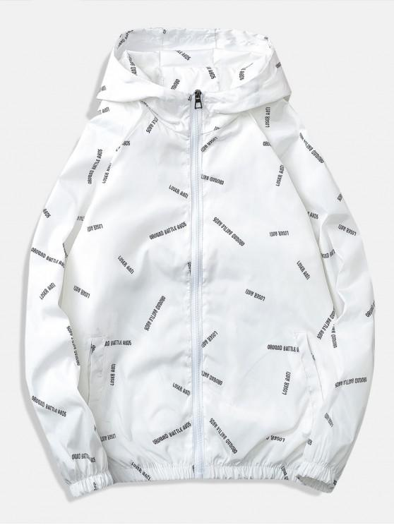 women Letter Printed Quick Dry Jacket - WHITE M