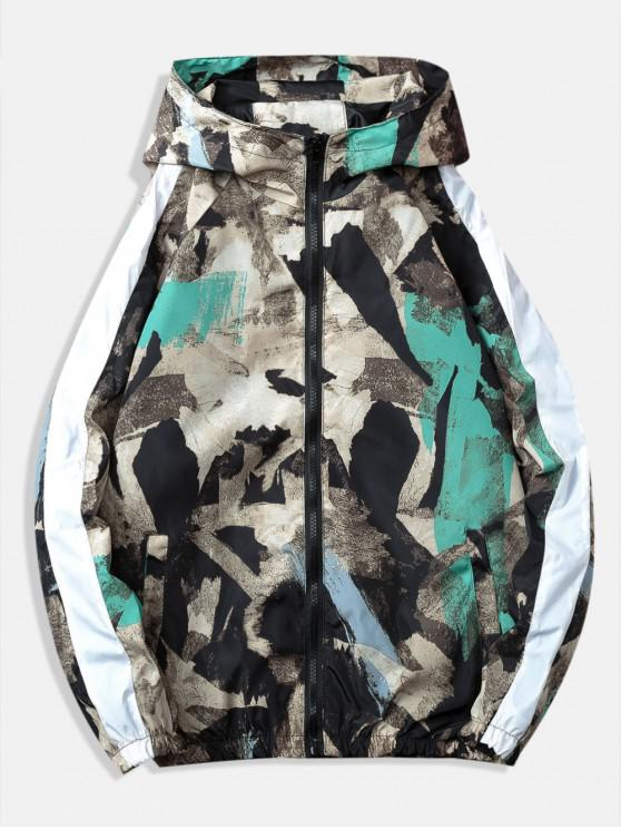 chic Abstract Painting Printed Windbreaker Jacket - GRAY M