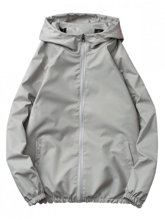 outfits Casual Solid Windbreaker Jacket - GRAY L