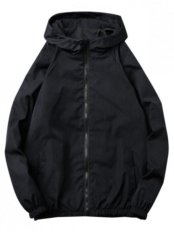 buy Casual Solid Windbreaker Jacket - BLACK XL