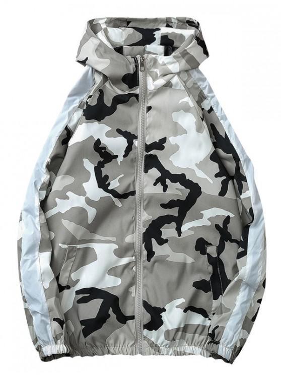 buy Camo Striped Windbreaker Jacket - GRAY 3XL