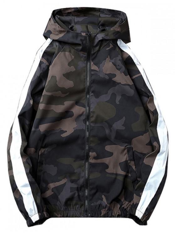 women Camo Striped Windbreaker Jacket - ARMY GREEN L