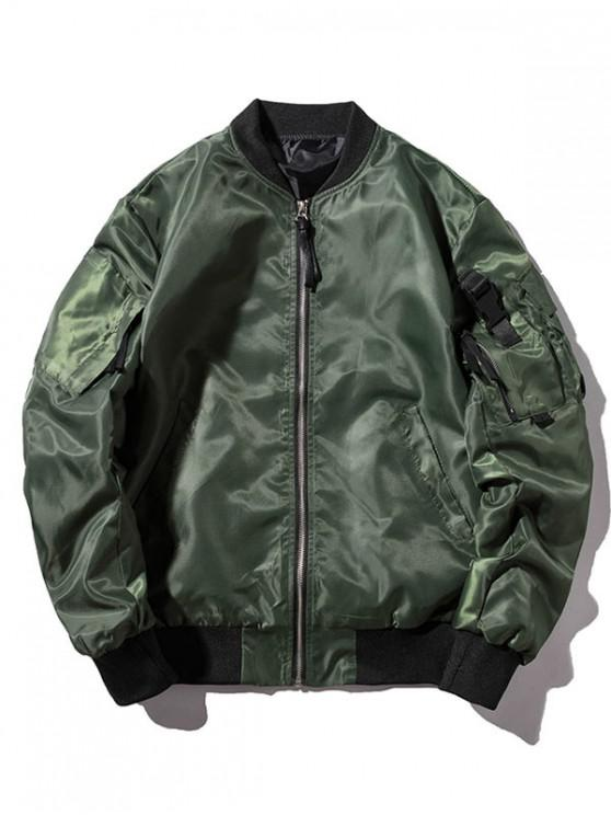 fancy Letter Pockets Windbreaker Bomber Jacket - CAMOUFLAGE GREEN 2XL