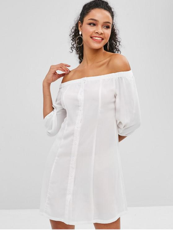 best ZAFUL Button Up Off Shoulder Dress - WHITE M