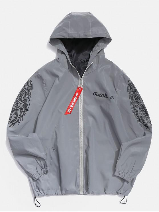 buy Wings Letter Graphic Reflective Light Jacket - GRAY XS