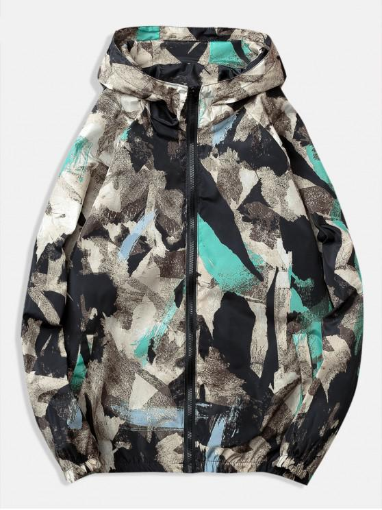 online Painting Printed Casual Jacket - BLACK M