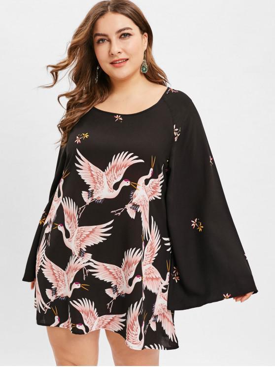 chic ZAFUL Crane Print Plus Size Tunic Dress - BLACK 1X