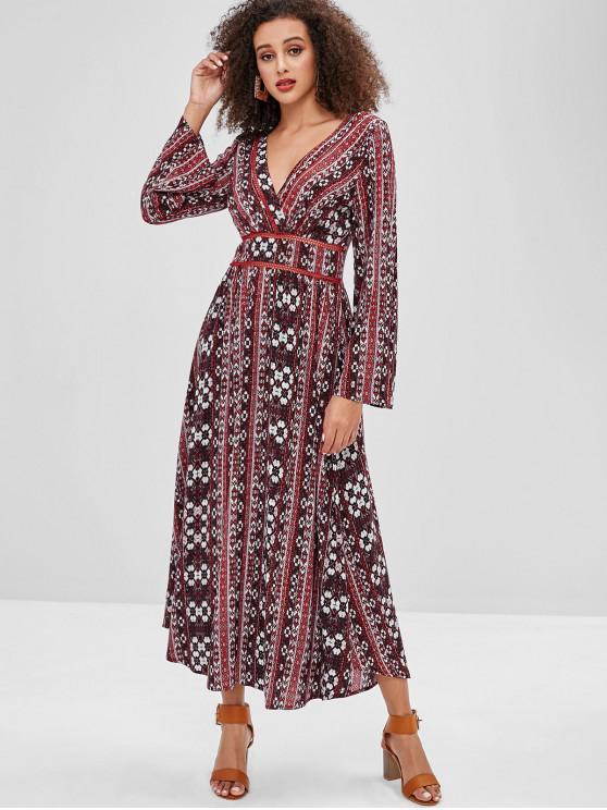 womens ZAFUL Boho Ethnic Floral Long Sleeve Dress - MULTI L