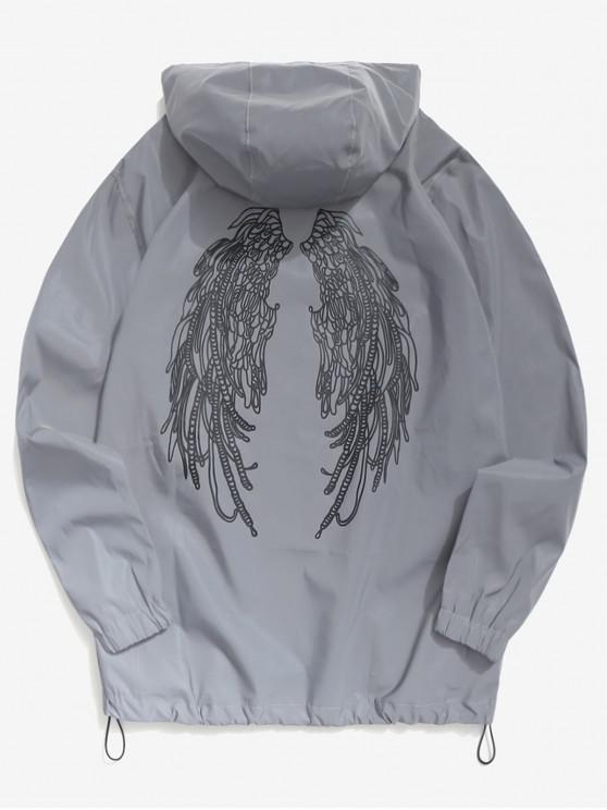 ladies Wings Graphic Reflective Light Jacket - GRAY S