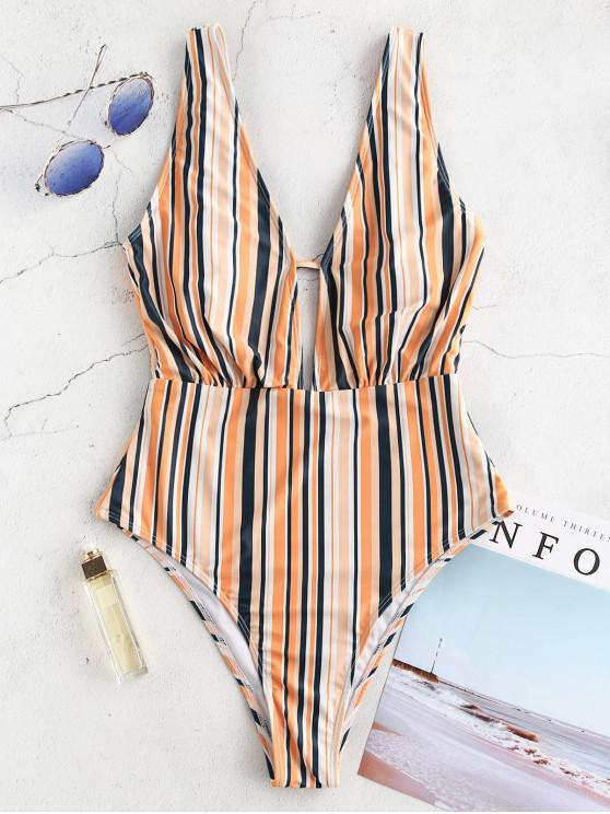 sale ZAFUL Colorful Striped Plunging Swimsuit - MULTI-A L