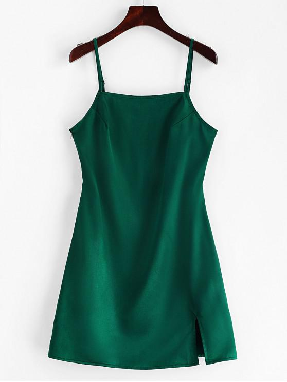 affordable ZAFUL Slit Plain Cami Dress - GREEN S
