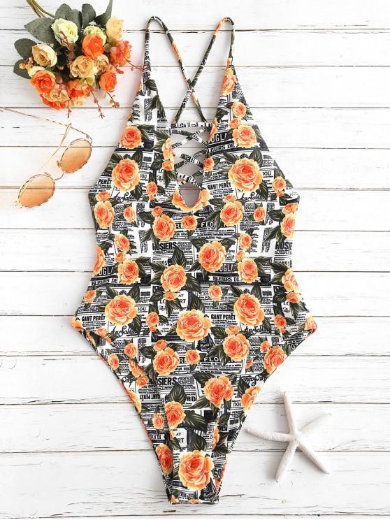 latest ZAFUL Flower Letter Criss Cross Swimsuit - MULTI-A S