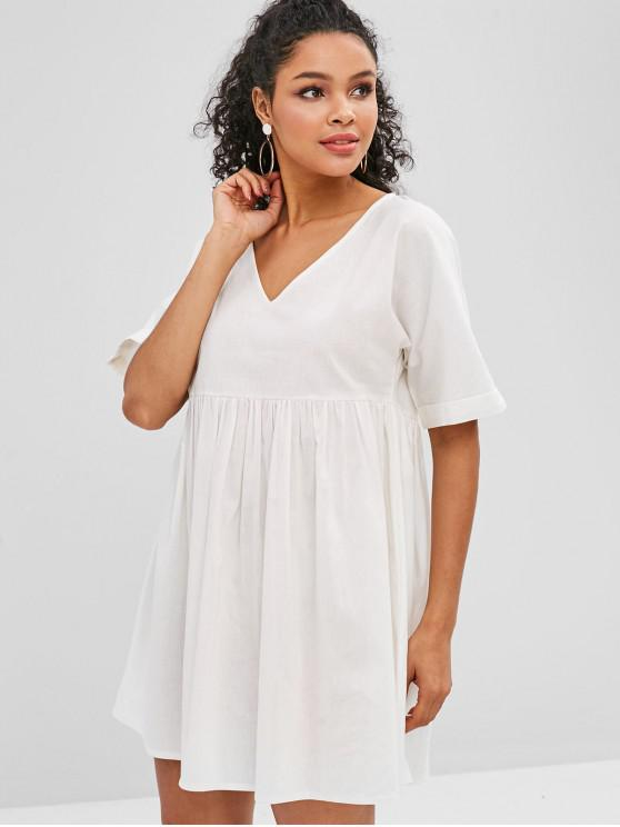ZAFUL Robe Manches à Rebords à Col V - Blanc S