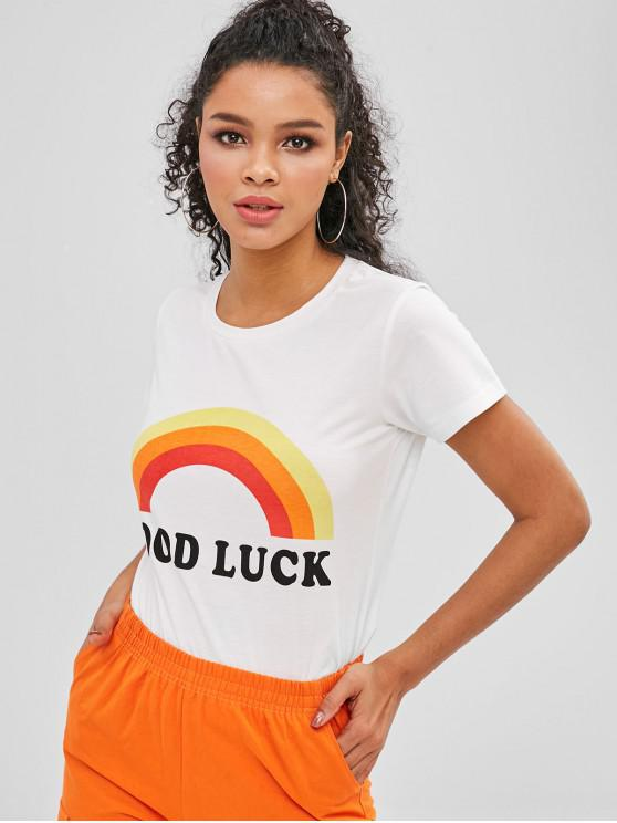 women ZAFUL Rainbow Letter Graphic Short Sleeves Tee - WHITE M