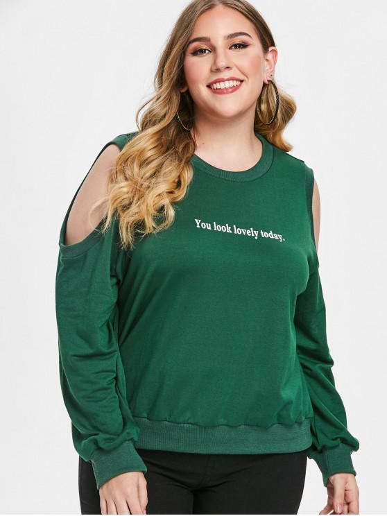 Плюс Размер Толстовка С Открытыми Плечами И Принтом - Зеленый 3X