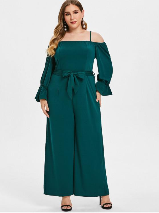 hot Belt Plus Size Cold Shoulder Jumpsuit - GREEN 2X