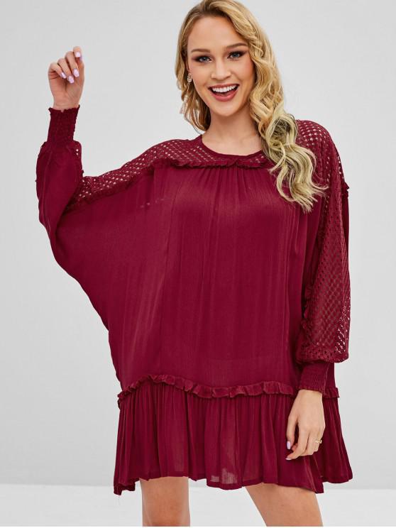 online Batwing Openwork Tunic Dress - RED WINE L