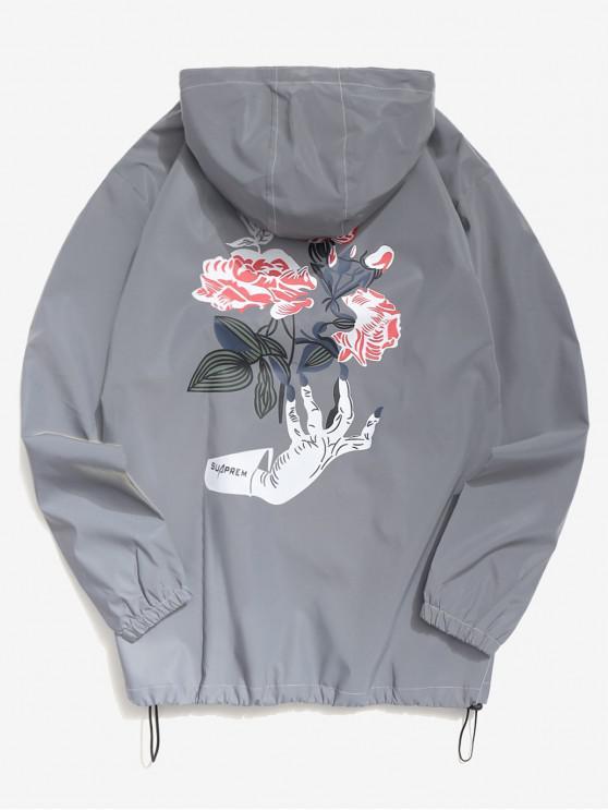 ladies Reflective Light Hand Rose Jacket - GRAY XS