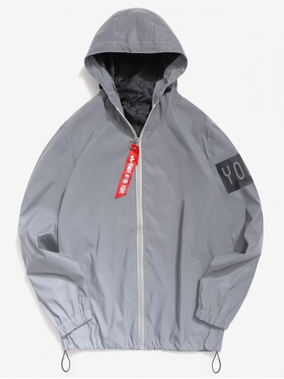 new Letter Reflective Light Jacket - GRAY S