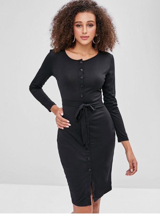 women Button Up Plain Belted Dress - BLACK L