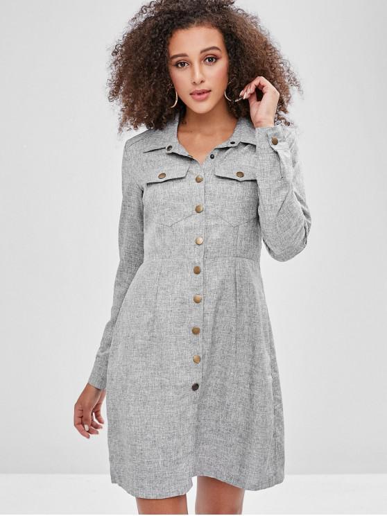 shops Snap Button Pockets Shirt Dress - GRAY XL