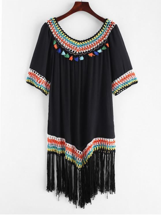 trendy Crochet Panel Tassels Fringed Dress - BLACK ONE SIZE