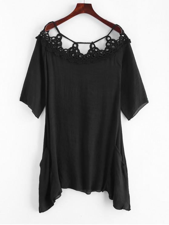 Gehäkeltes Verdeckkleid - Schwarz Eine Größe