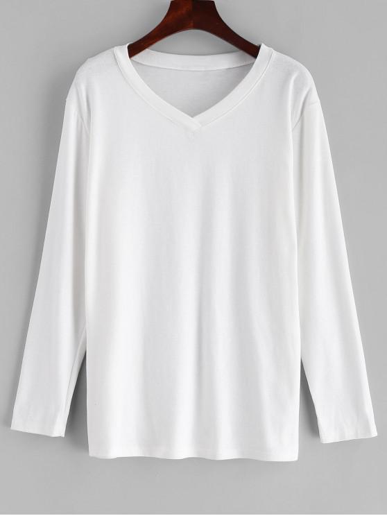fashion Basic V Neck Top - WHITE XL