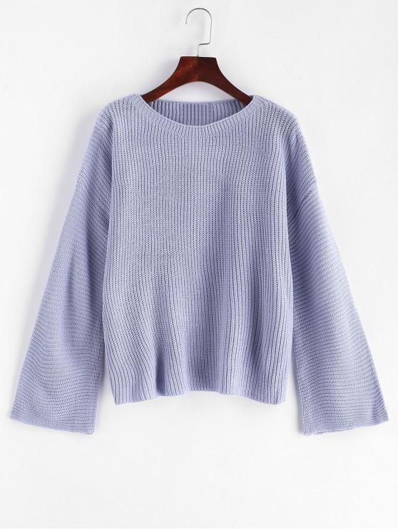 online Plain Pullover Flare Sleeve Sweater - BLUE GRAY ONE SIZE