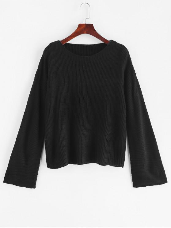 latest Plain Pullover Flare Sleeve Sweater - BLACK ONE SIZE